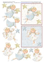 2 Blue Heavenly Angel Christmas Card Toppers
