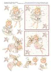 2 Pink Heavenly Angels Christmas Card Toppers