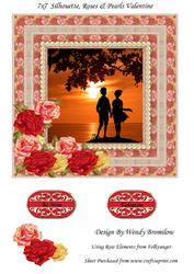 7x7 Roses Pearls Silhouette Valentine