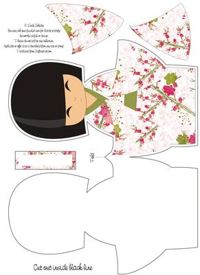 Large kokeshi doll shaped card cup57688 571 craftsuprint for Large paper doll template