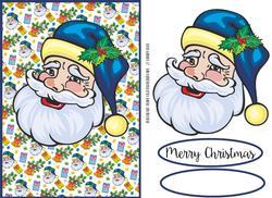 Blue Santa Card Front / Topper