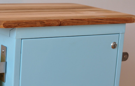 Place your cutting board on top of the cabinet, and mark where the screws will need to go to secure it.