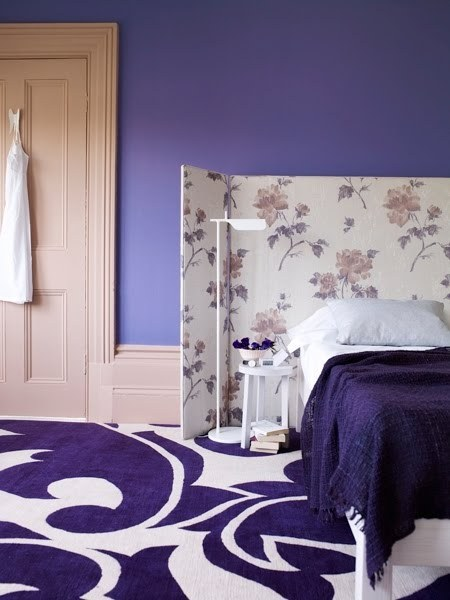 Polly Wreford Purple Bedroom Swirl Rug Screen Uphostered