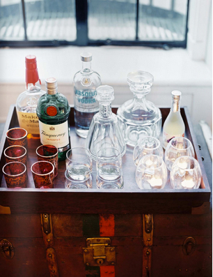 Antique trunk bar tray