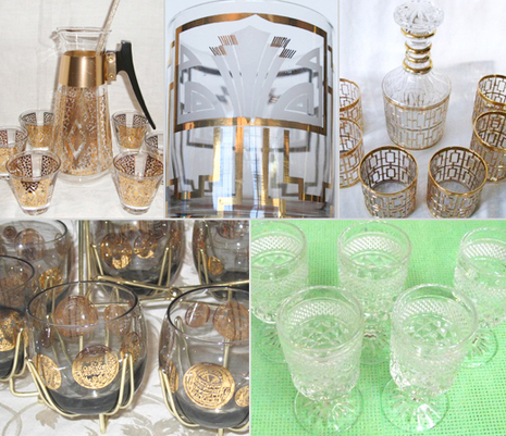 vintage barware glasses