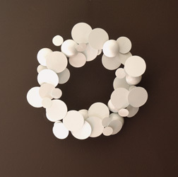 Flat modern white wreath from Kenneth Wingard