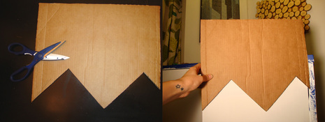 Cut it out and this will be your template for tracing your first chevron pattern onto the cabinet.