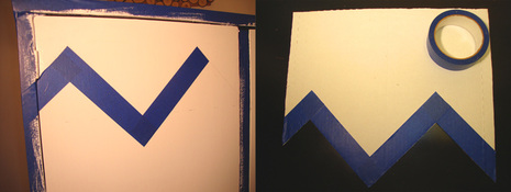 When the first line is all across the cabinet, take your cardboard template and tape along the zig zag line.