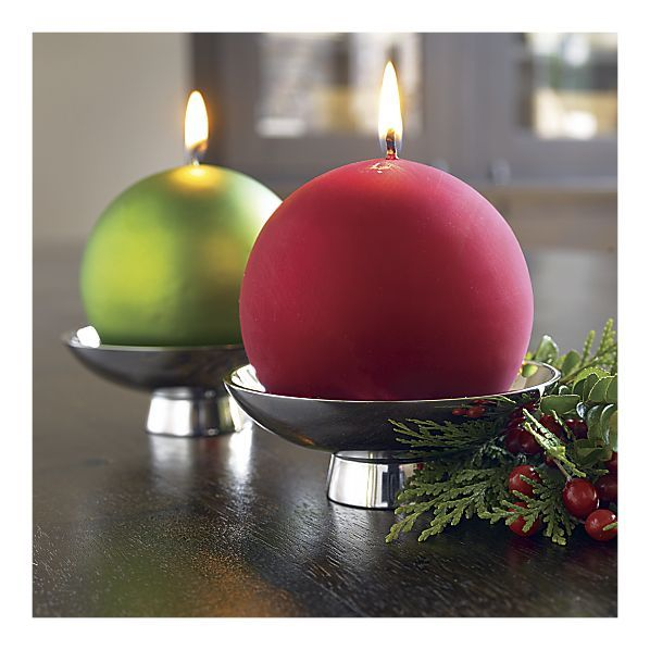 Credit: Crate and Barrel [http://www.crateandbarrel.com/holidays/christmas-decorating/2-piece-milo-footed-candle-dish-with-matte-green-ball-candle-set/s133322]