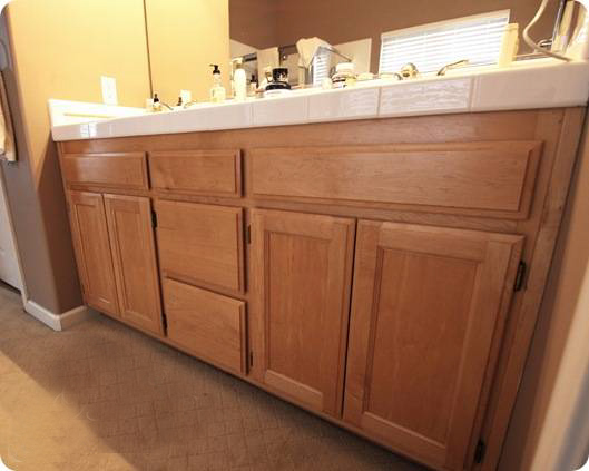 Turn your builder 39 s grade oak vanity into a thing of - Builder grade oak kitchen cabinets ...