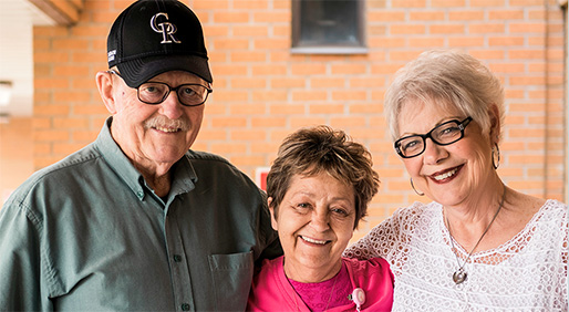 Jim Amundson, Sally Durham, RN, and Mona Amundson.