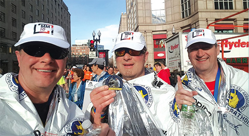 'Dream Come True': Multiple myeloma survivor Jeff Goad (middle) and brothers, David and Brad, ran the Boston Marathon to raise money and awareness. - TOP: GLOWONCONCEPT / FOTOLIA; GOAD BROTHERS: COURTESY JEFF GOAD