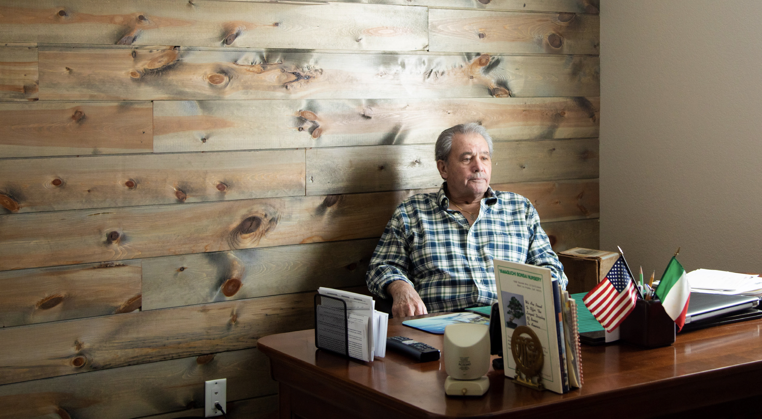 SALERNO began to build a wood plank wall in his office before his small cell lung cancer diagnosis. He stopped when he got sick and thought he wouldn't finish. But the new treatment he received has enabled him to finish the project. - PHOTO BY JOLIE RODRIGUEZ