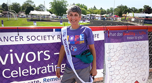 LAUREL FELSENFELD, a soft tissue sarcoma survivor, at the Mason County Relay for Life held in Ludington, Michigan in June 2015. PHOTO COURTESY OF LAUREL FELSENFELD