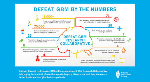 By the Numbers: Progress Made By Defeat GBM - Image courtesy of Defeat GBM