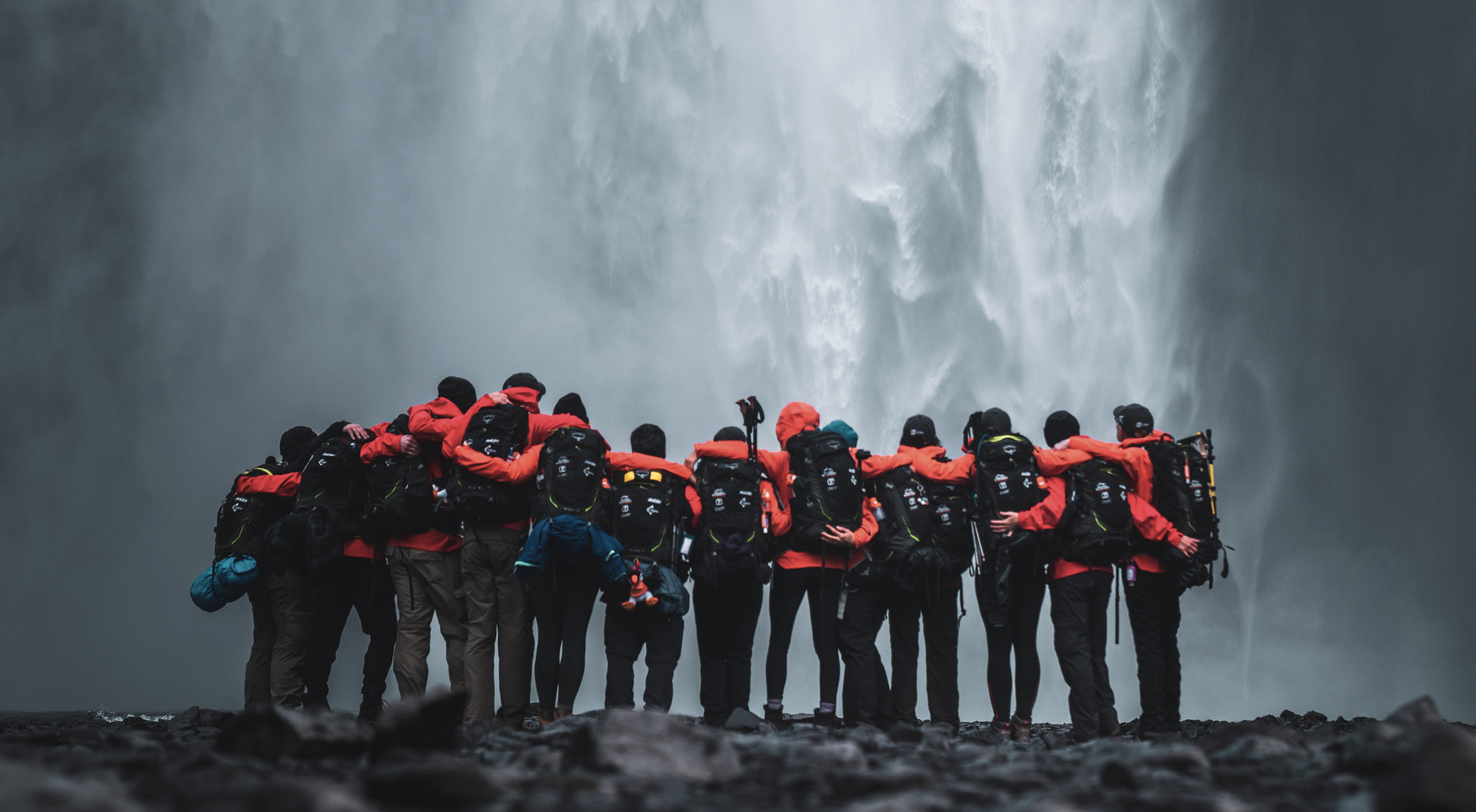 The team trekked to Skogafoss Waterfall on day four of the adventure. - PHOTO BY UNCAGE THE SOUL PRODUCTIONS