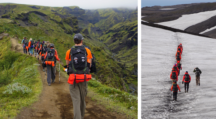 Known as the Cat's Spine (left), team members crossed the narrow, uneven passage on day two of the trek. On the same day, the team also hiked through snow (right) pulling out gloves and hats from their backpacks. - PHOTOS BY MARTY MURPHY