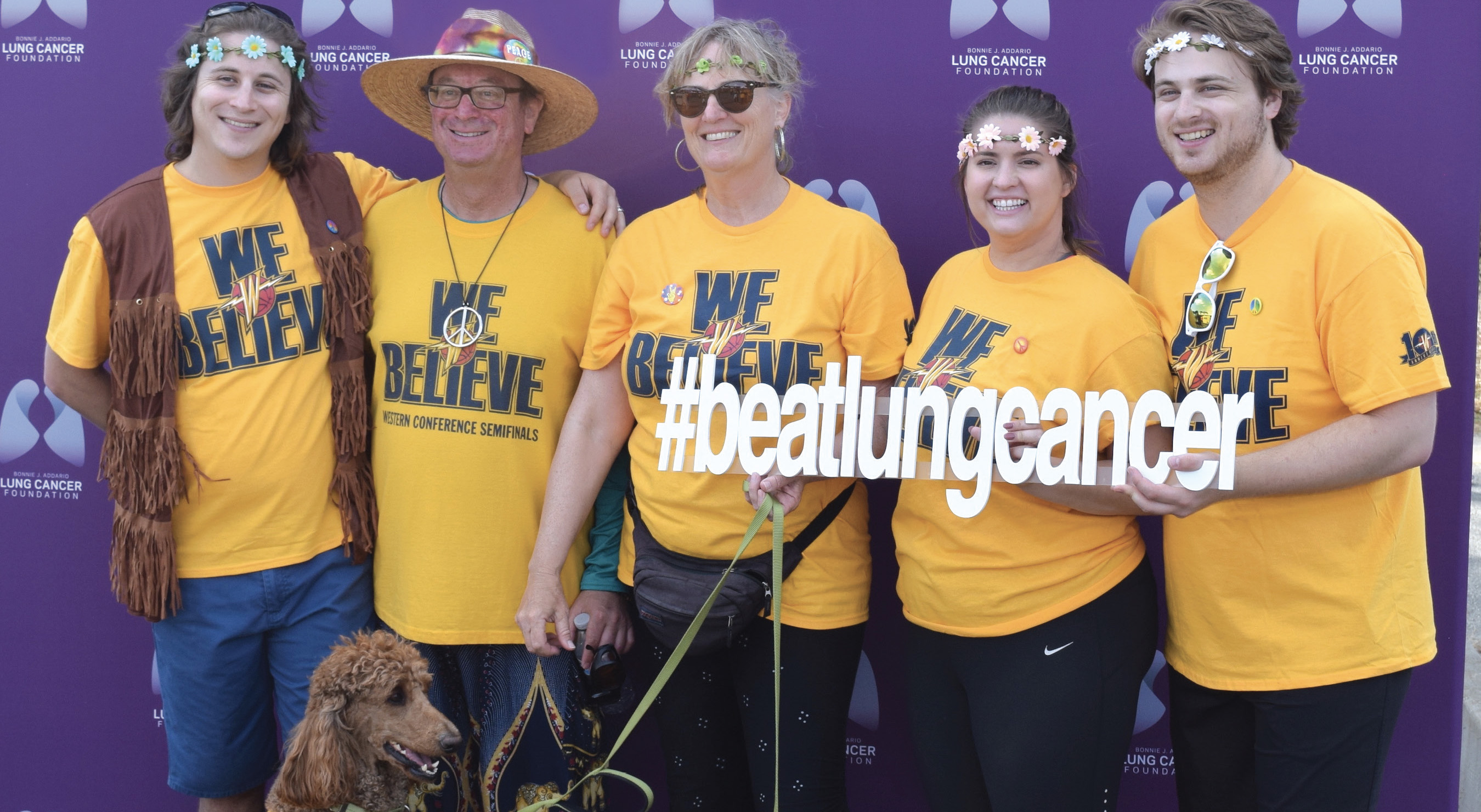 DAVE KARLIN (second from left) celebrates with his family at the Bonnie J. Addario Lung Walk/Run event in September at Lake Merced in San Francisco. - COURTESY DAVE KARLIN