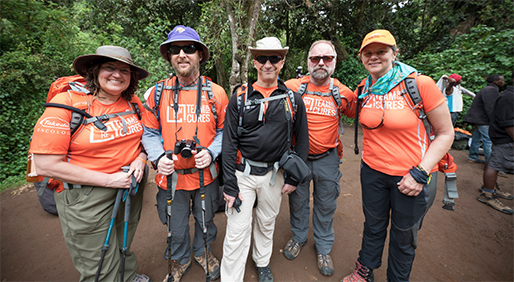 Multiple myeloma survivors Nancy Dziedzic, Matt Goldman, Gary Rudman, Terry White and April Jakubauskas bonded to accomplish
