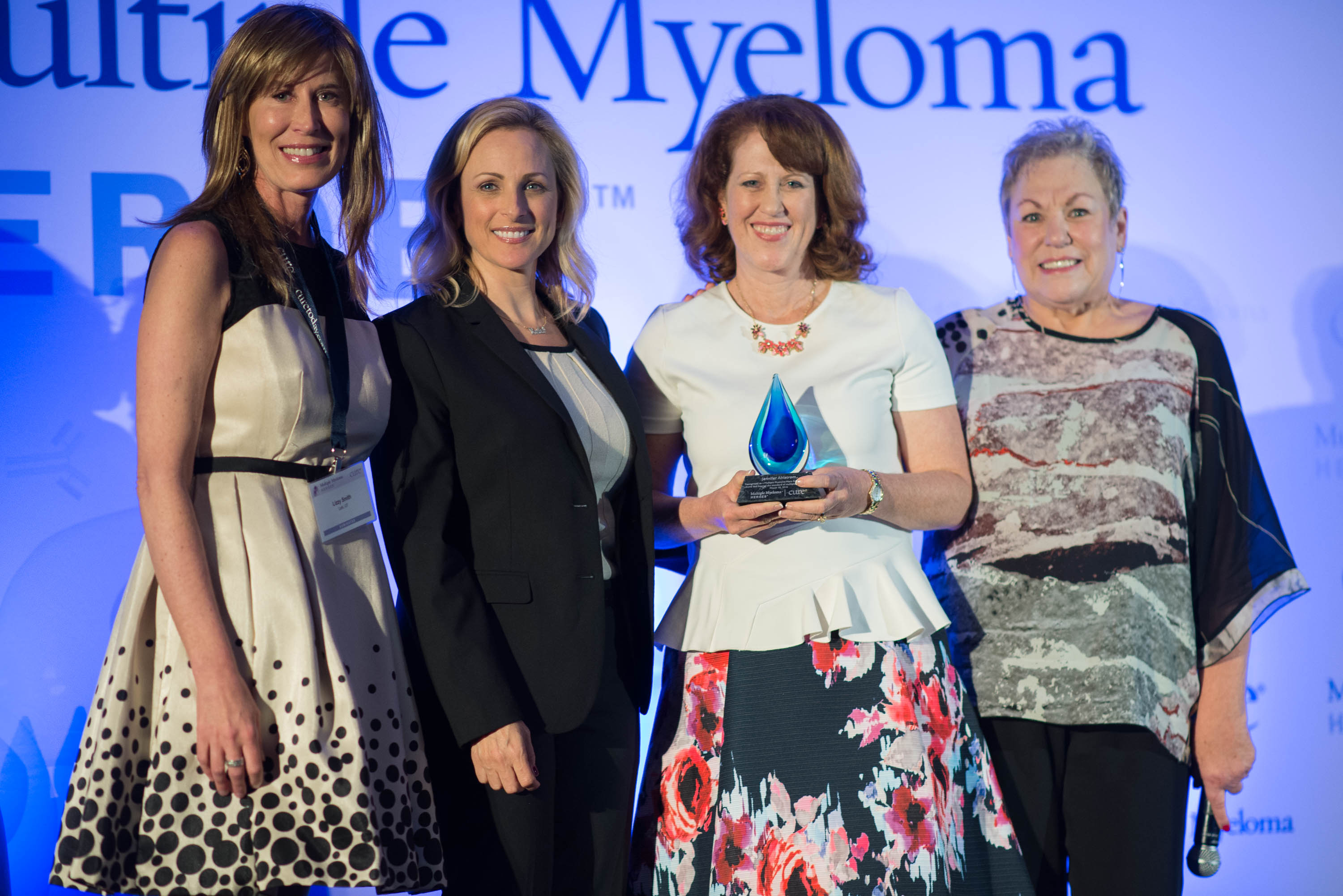In her keynote speech, TV and movie actress Marlee Matlin (second from left) spoke about her father's diagnosis with multiple myeloma, dealing with adversity by cultivating a good sense of humor, and more.