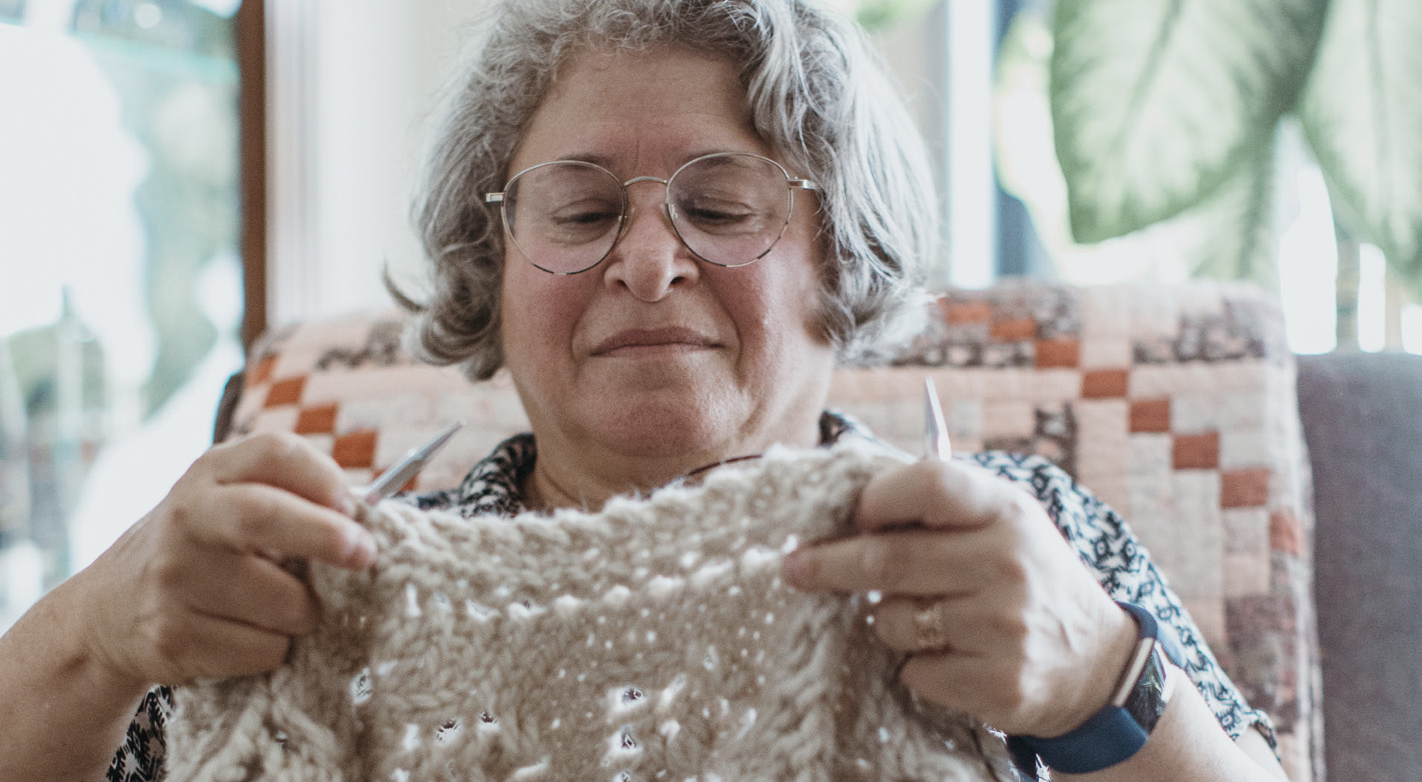 SYLVIA MORITZ finds that knitting helps