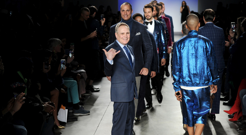 Patient advocate Todd Seals walks in the annual Blue Jacket Fashion Show