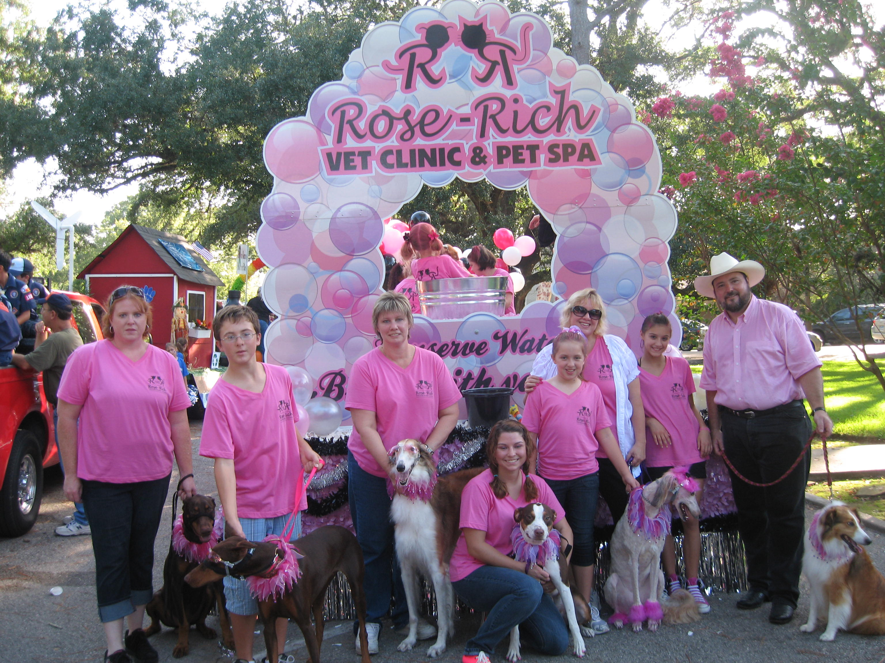 Design your own t-shirt for dogs - Rose Rich Veterinary Clinic Winning Parade Float T Shirt Photo