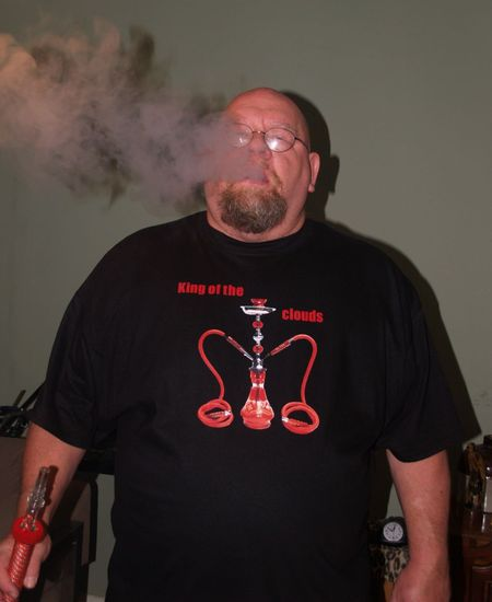 My Hubby Enjoying His Meza Mint Tobacco  T-Shirt Photo