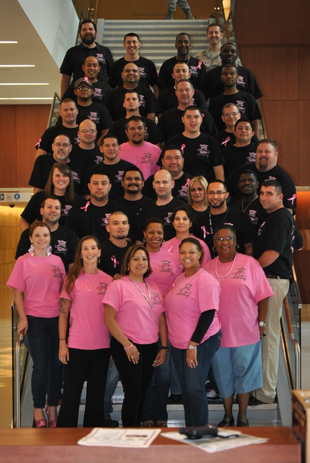 Real Coworkers Wear Pink T-Shirt Photo