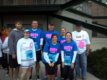 Team Bust A Move Against Cancer At The 2012 Knoxville Susan G Komen Race For The Cure T-Shirt Photo