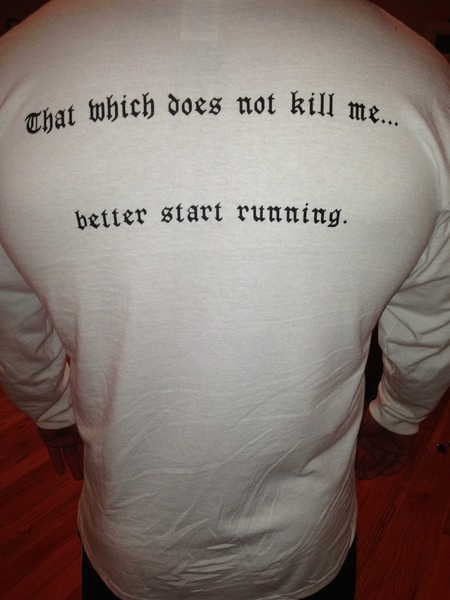 Back Of Hit Cross Fit's Newest Long Sleeved Shirts! T-Shirt Photo