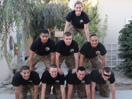 Deployed Soldiers With Their Custom Shirts.  T-Shirt Photo