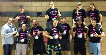 Crazy Team Sporting Their Pink T-Shirt Photo