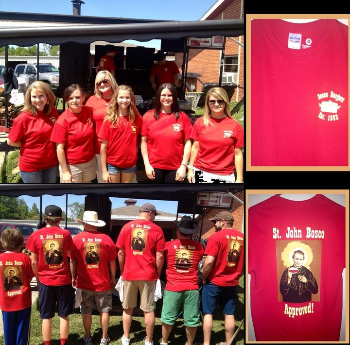 St. John Bosco Approved! 2013 Bosco Burger Booth Tee's T-Shirt Photo