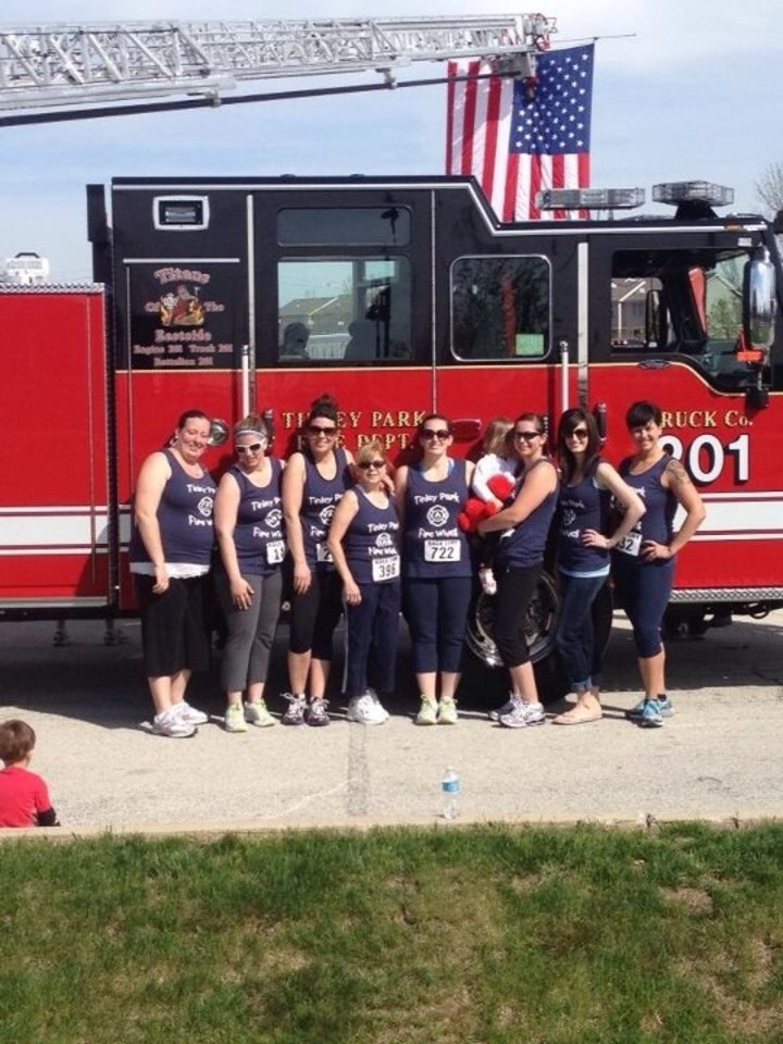 Tinley Park Fire Wives Pose With Our Village's New Truck! T-Shirt Photo