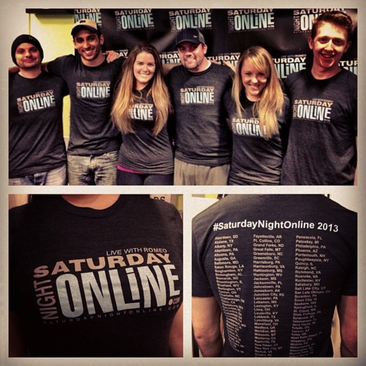 Saturday Night Online Crew Celebrating 100 Affiliates T-Shirt Photo
