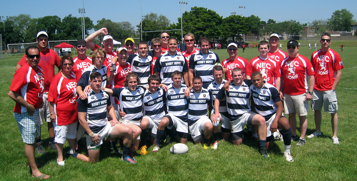 New England College Rugby Lions & Alumni T-Shirt Photo