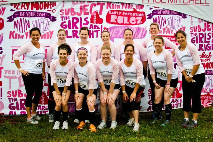 Team Stealing Second Base At The Dirty Girl Mud Run: Pittsburgh T-Shirt Photo