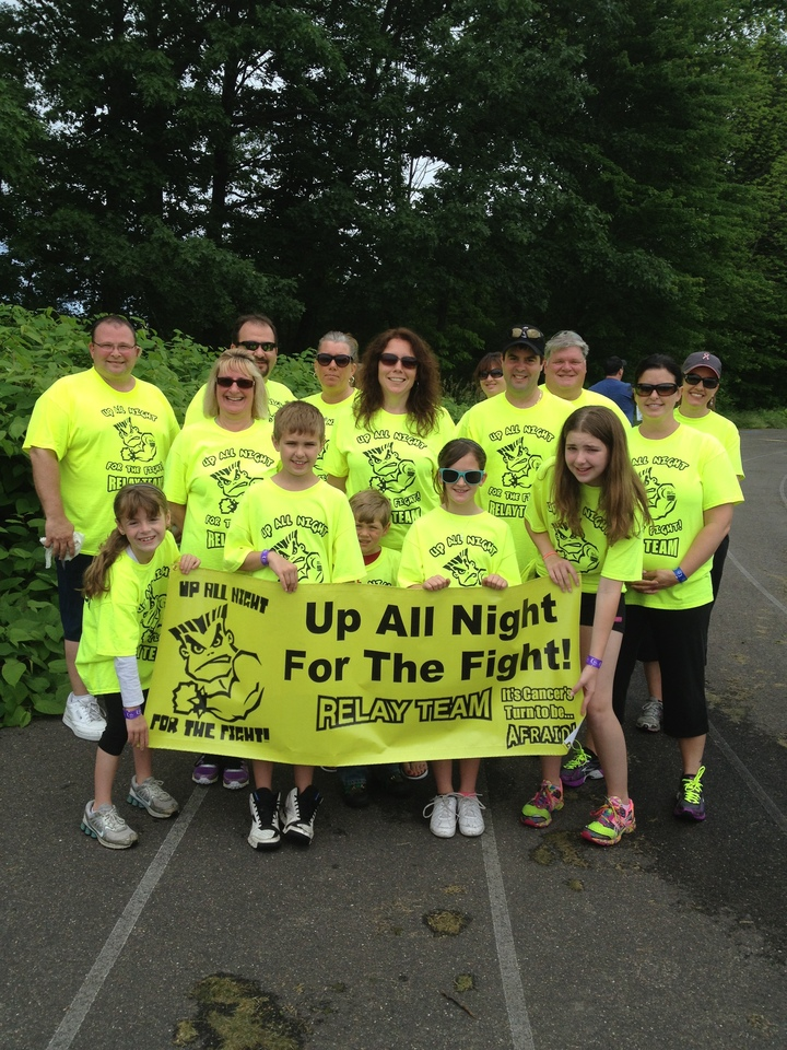 """Up All Night For The Fight"" Relay For Life Team  T-Shirt Photo"