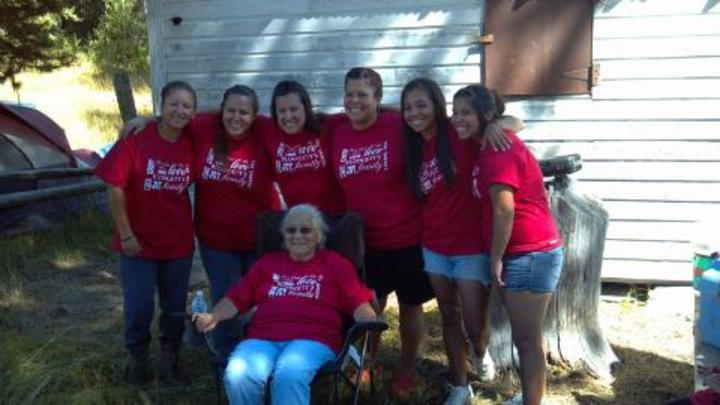 Grandma With Beautiful Granddaughters T-Shirt Photo