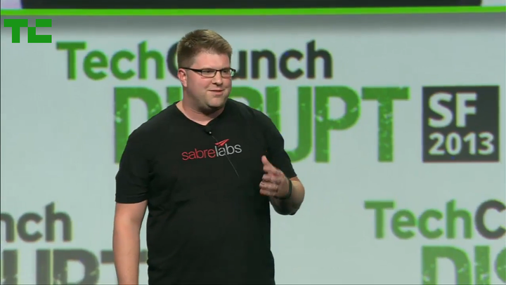 Mark Mc Spadden Presents At The 2013 Tech Crunch Disrupt Sf Hackathon For The Sabre Labs Team. T-Shirt Photo