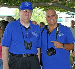 Two Happy Guys Wearing Fantasy Lane Stable Royal Blue T-Shirt Photo