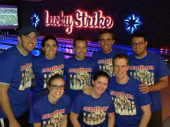 Blurred Lanes Bowling Team T-Shirt Photo