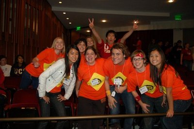 Usc Students Showing Their Trojan Spirit At A Conference T-Shirt Photo
