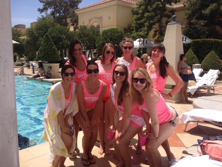 Bachelorette Tanks At The Bellagio Pool T-Shirt Photo