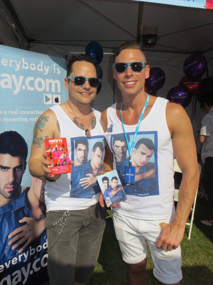 Rob & Eugene Man The Gay.Com Booth At La Pride T-Shirt Photo