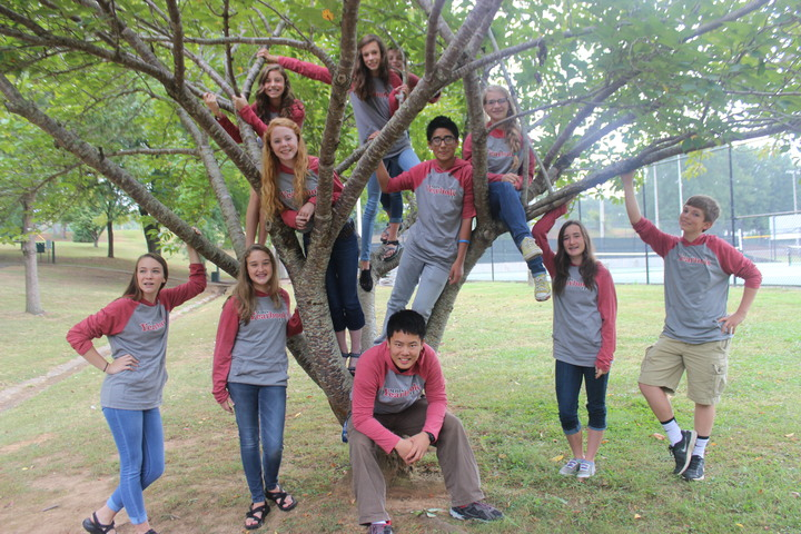 Yearbook Staff In Autumn T-Shirt Photo