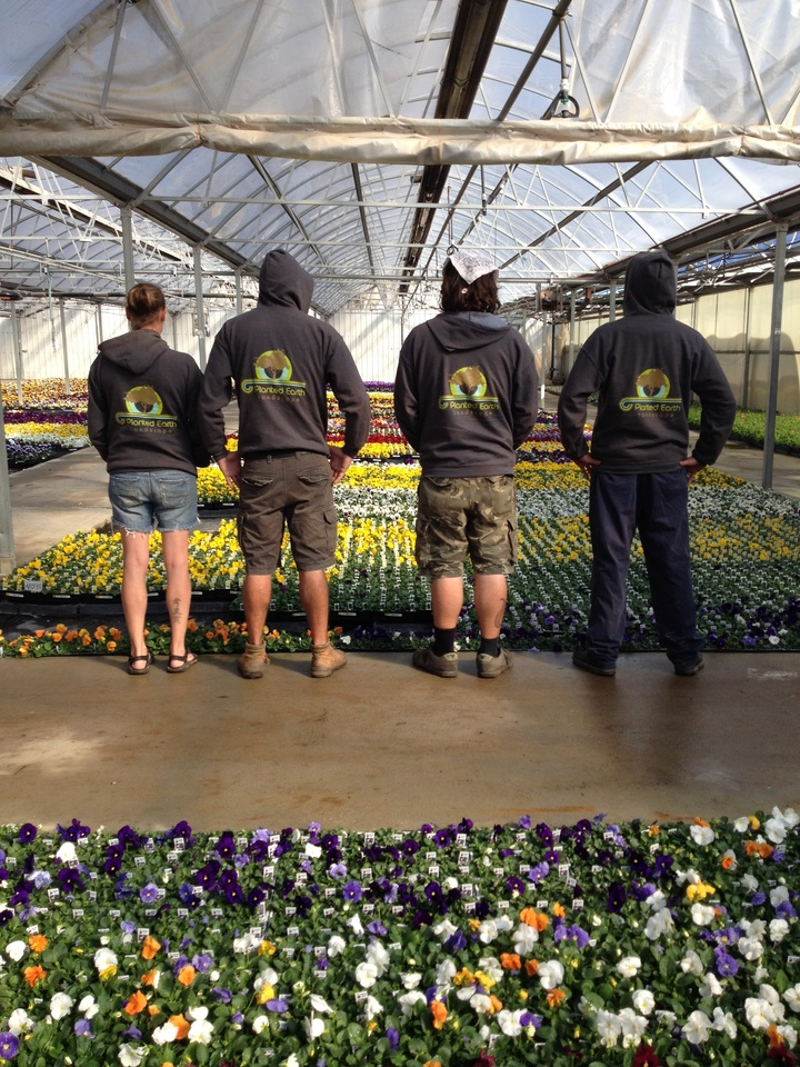 Landscapers At The Greenhouse  T-Shirt Photo