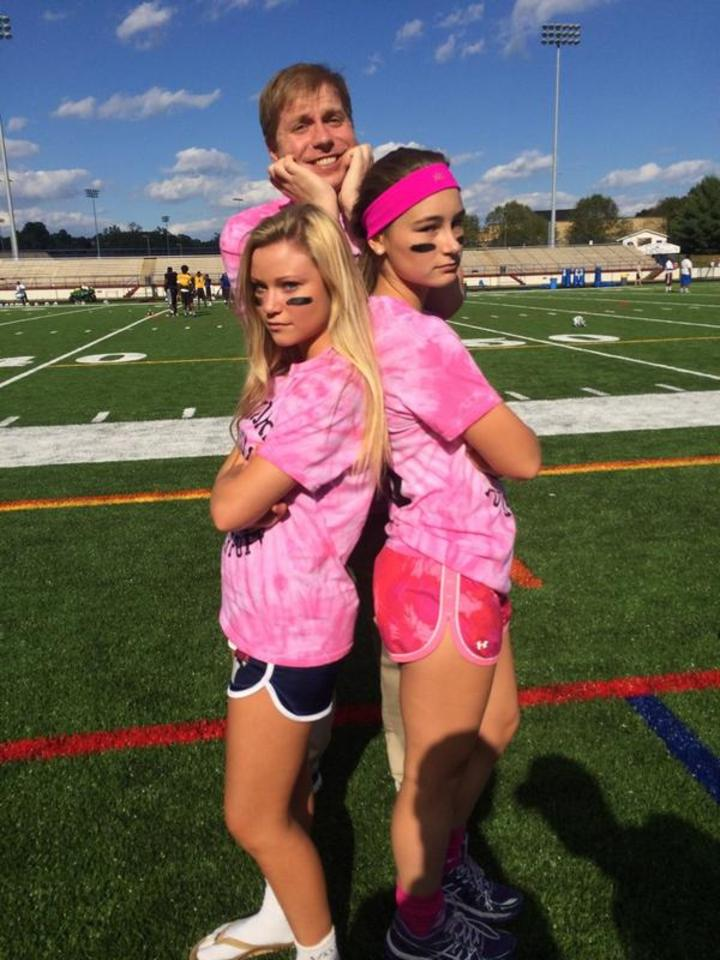 Advisor Mr. Culig With Two Powder Puff Athletes T-Shirt Photo