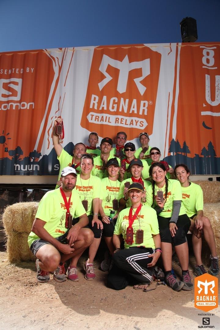 Team Caffeine Ragnar Trail Mc Dowell Mountain T-Shirt Photo